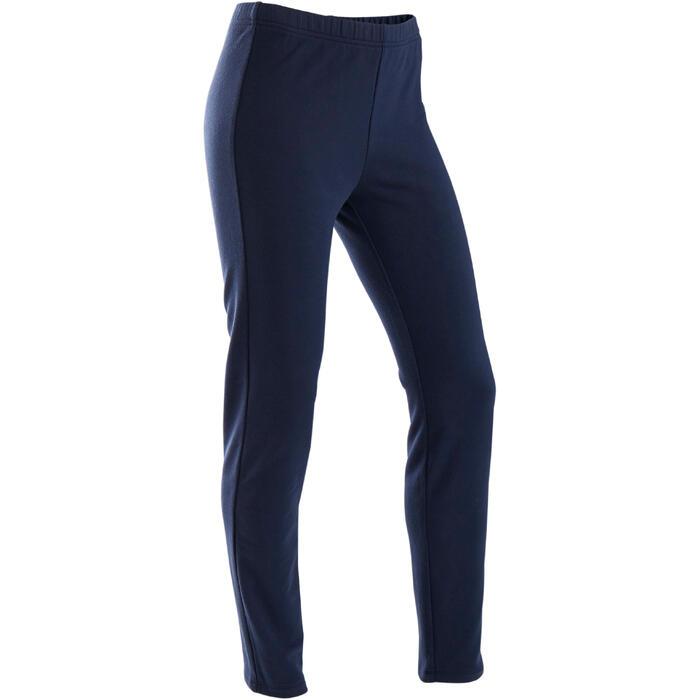 Trainingshose Slim French Terry warm 100 Gym Kinder marineblau