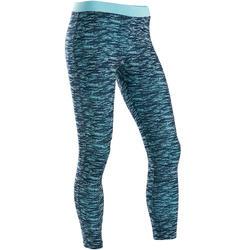 Leggings Baumwolle atmungsaktiv 500 Gym Kinder blau mit Print