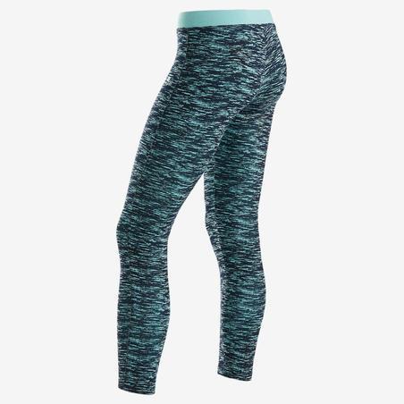 Legging Senam Katun Breathable Perempuan 500 - Biru Motif