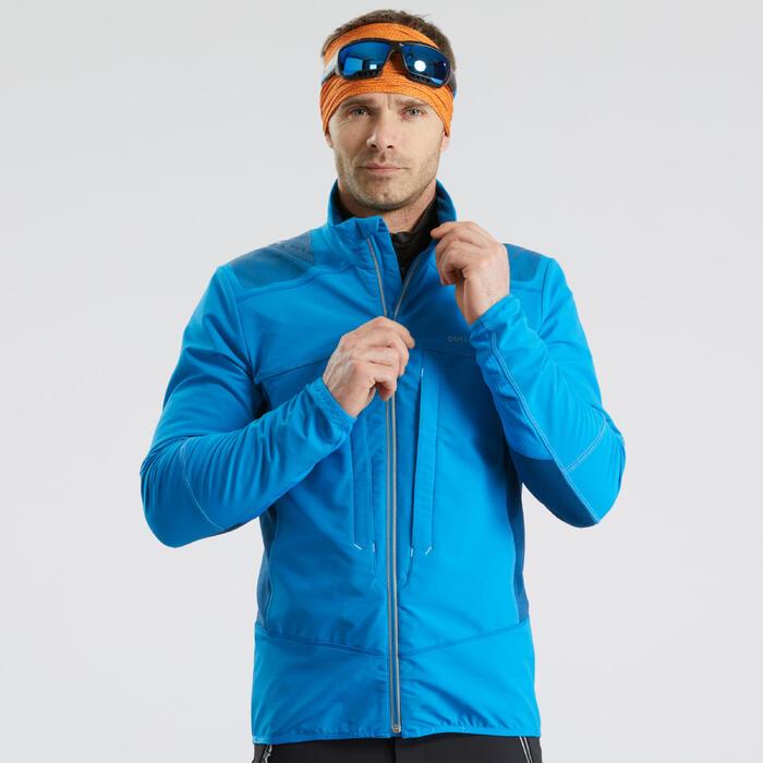 Chaqueta Softshell de senderismo nieve hombre SH900 warm azul.