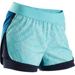 Ademende gymshort voor meisjes W900 blauw met print