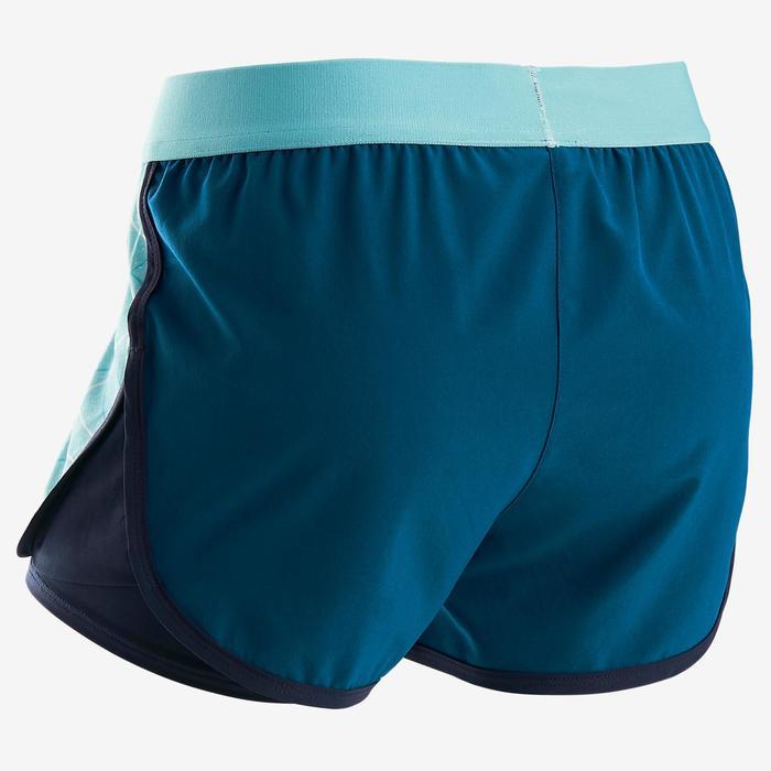 Kurze Sporthose W900 Gym Kinder blau mit Print