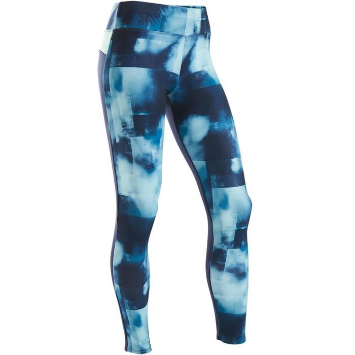 Leggings warm Synthetik atmungsaktiv S500 Gym Kinder bedruckt blau/marineblau