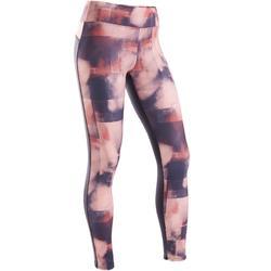 Warme en ademende legging voor gym meisjes S500 synthetisch roze/zwart print