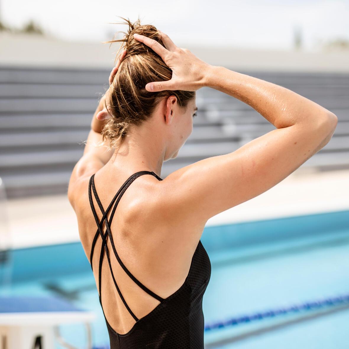女款高抗氯X型美背連身泳裝