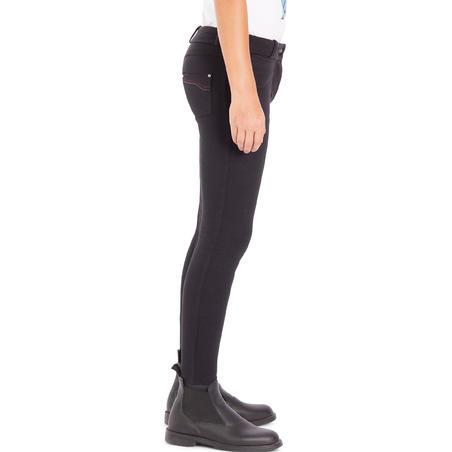 Pantalón equitación fouganza 180 FULLSEAT niños negro y gris con culera