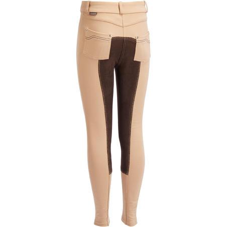 Pantalon fond de peau équitation enfant 180 Fullseat beige marron