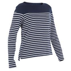 T-Shirt manches longues bateau 100 femme