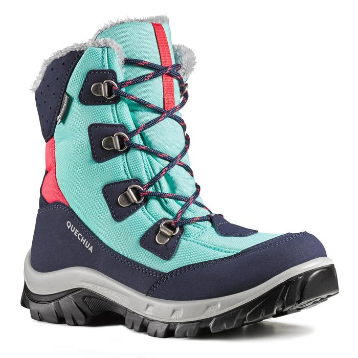 SH500 Warm Kids' Waterproof Hiking Boots - Turquoise