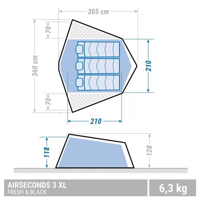 Kampeertent voor 3 personen Air Seconds Fresh&Black XL