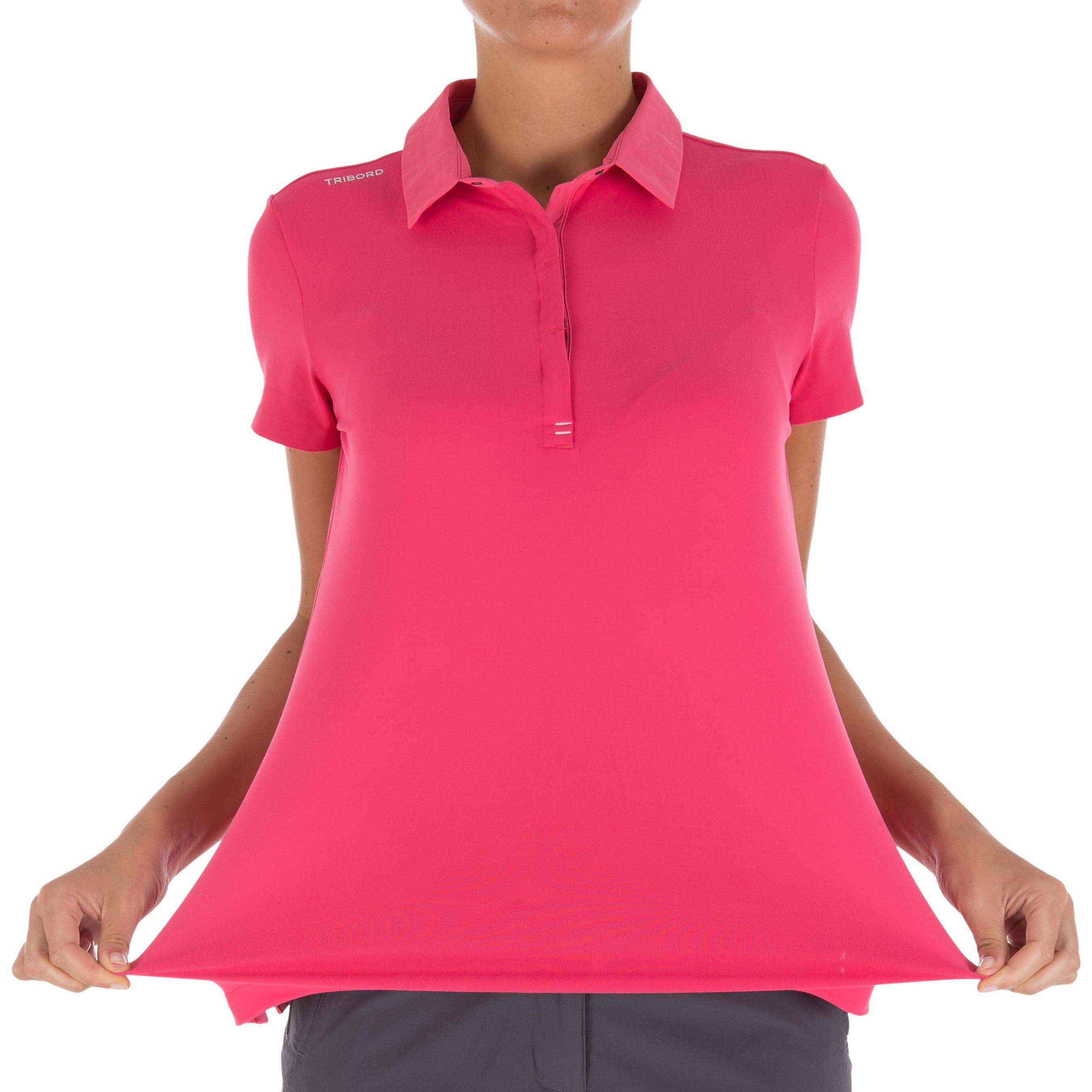 Women's Race short-sleeved sailing polo shirt pink