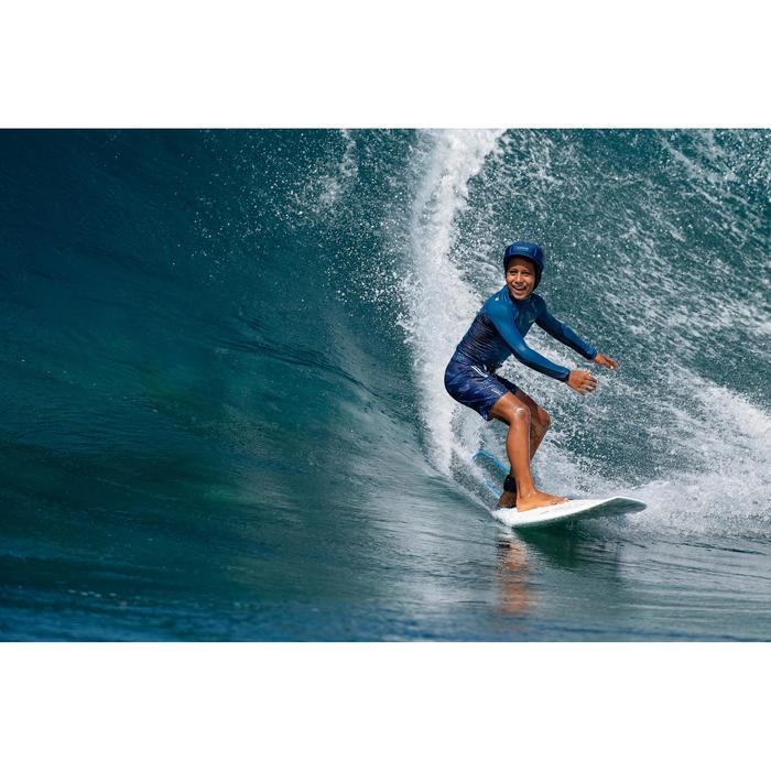 tee shirt anti uv surf top 500 manches longues enfant bleu