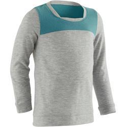 T-Shirt Langarm 500 Babyturnen grau/grün