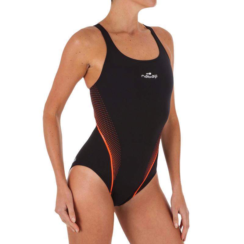 Traje de baño/natación Alberca Nabaiji Kamiye Mujer Espalda X Negro Naranj Fluor