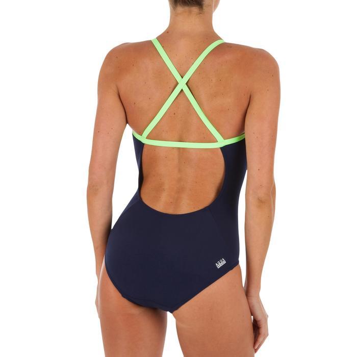 Bañador Natación Piscina Nabaiji Jade Mujer Forma Espalda X Escotado Fluor
