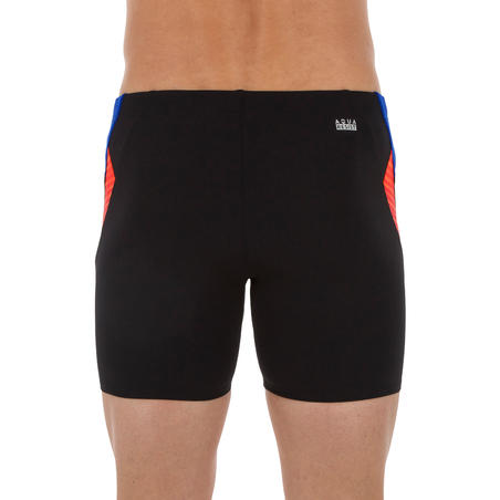 MEN'S LONG BOXER SWIM SHORTS 500 - BLACK LAYO ORANGE