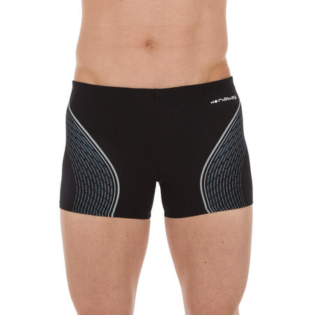 500 FIT MEN'S BOXER SWIM SHORTS BLACK/GREY