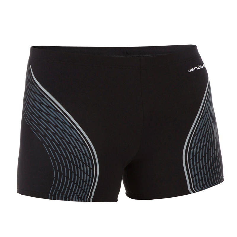 MEN'S SWIMMING BOXERS 500 FIT - BLACK DASH GREY
