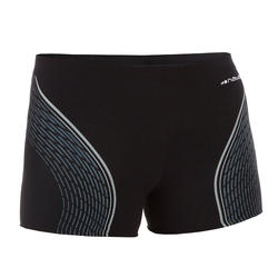 MEN SWIMMING BOXER SHORTS - BLACK PRINTED