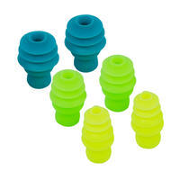 FIR TREE SHAPED SILICONE SWIMMING EAR PLUGS - 3 SIZES - MULTICOLOURED