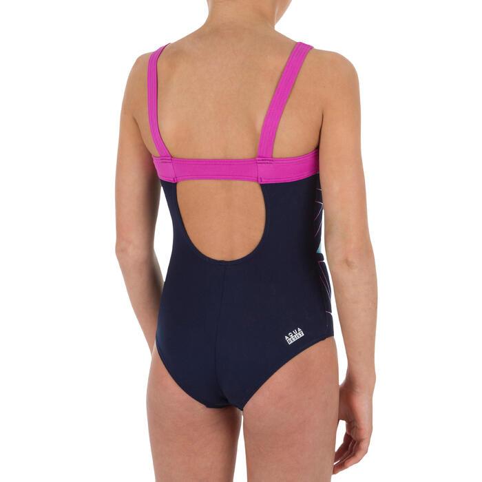 Maillot de bain de natation fille une pièce Taïs Geo bleu violet