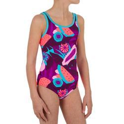 Bañador de natación para niña Heva + All Veg violeta azul