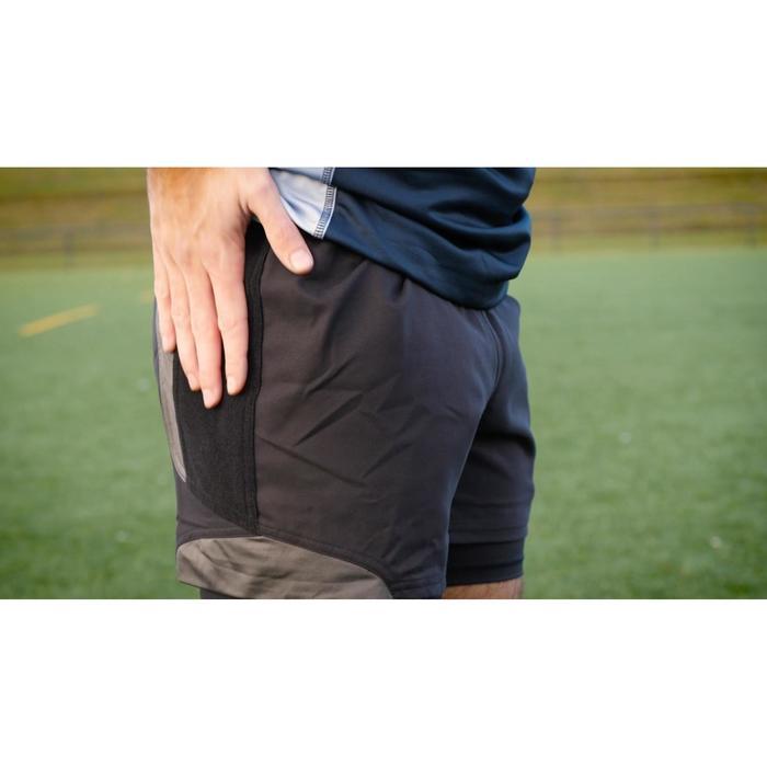 Rugbyshort voor volwassenen R900 zwart/grijs