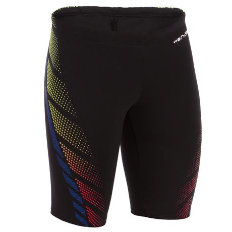 1ea335e2b9be Boys' Jammer Swim Shorts 500 First Black Dots - Orange Blue | Nabaiji