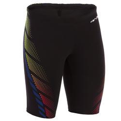 男童款及膝四角泳褲500 FIRST黑底黃橘色點點