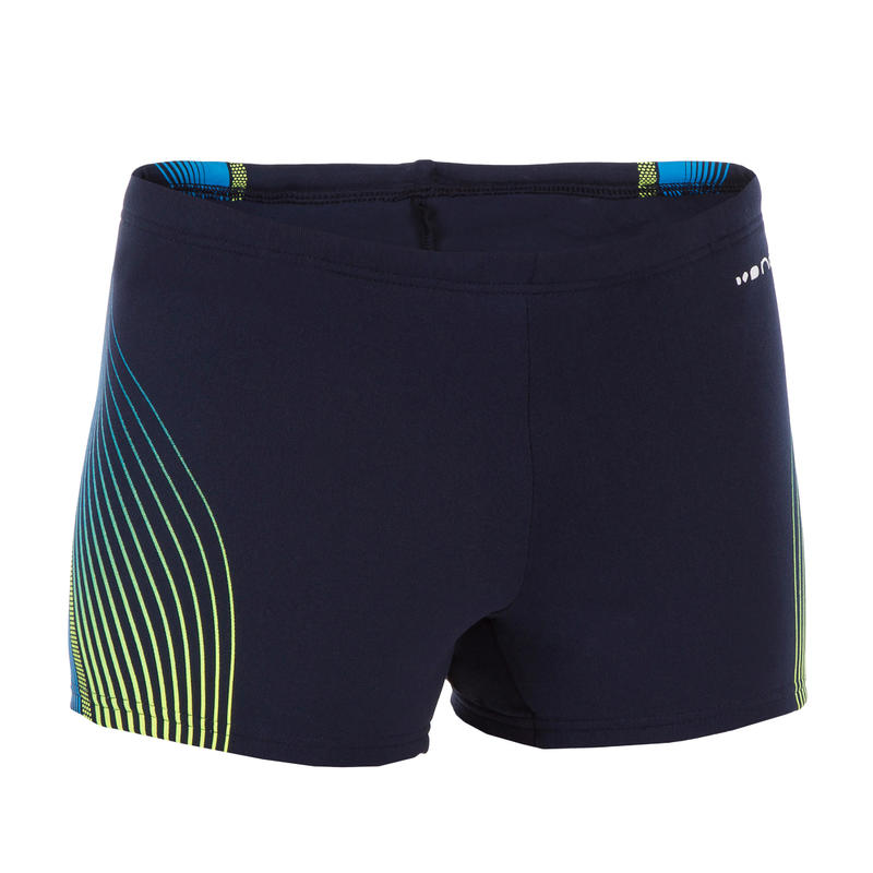 500 FIT BOY'S BOXER SWIM SHORTS BLUE TRACO YELLOW
