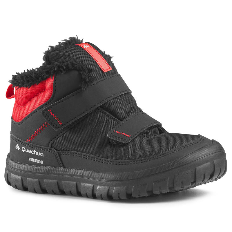 Kids' Snow Hiking Warm Shoes SH100 Warm Velcro Mid - Black