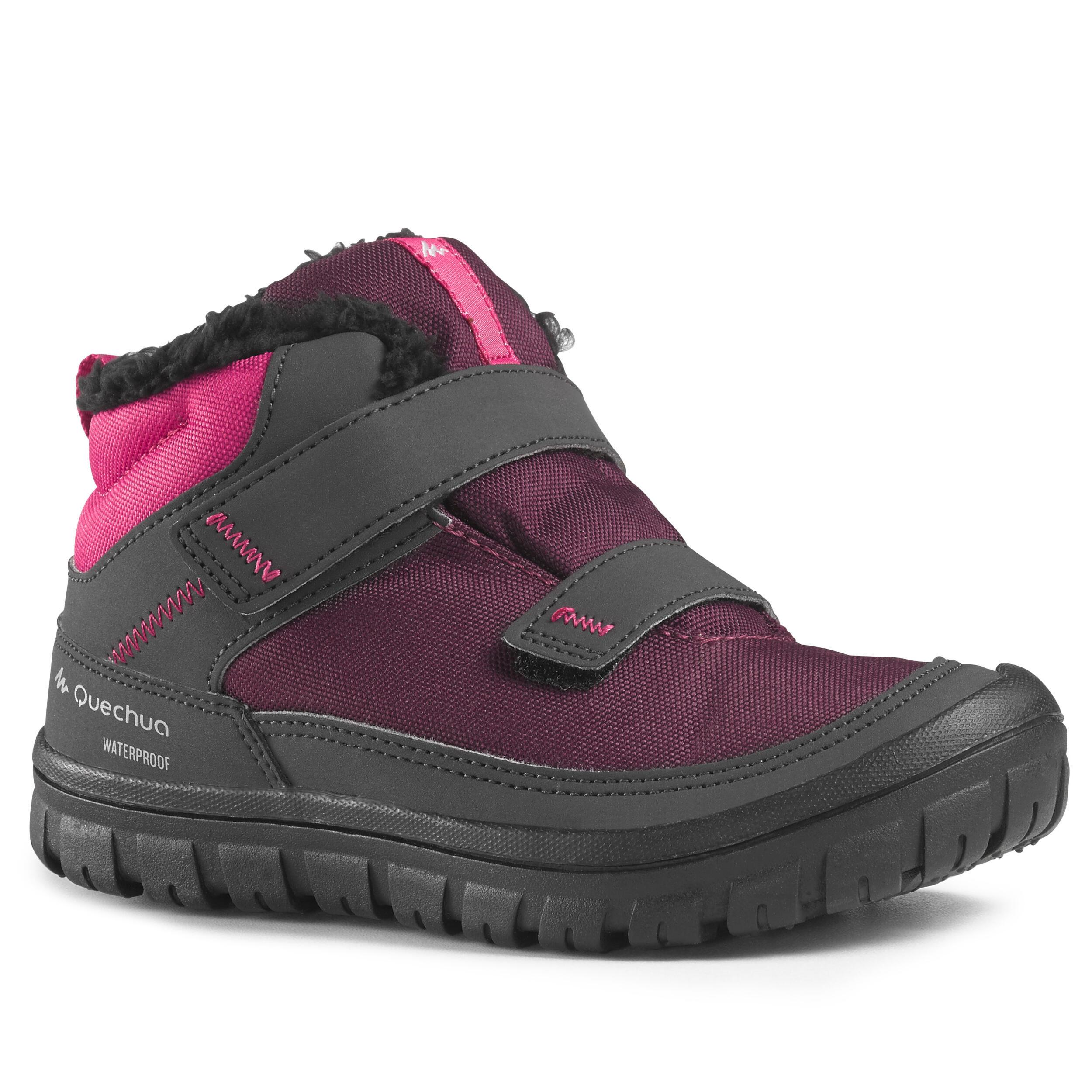 Junior warm snow hiking shoes rip-tab mid SH100 - Navy