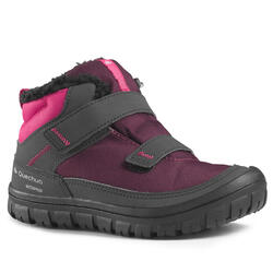 KIDS' WARM AND WATERPROOF RIP-TAB HIKING SHOES - SH100 WARM