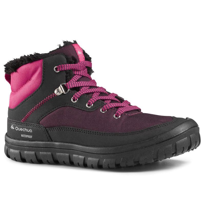 Dětské turistické nepromokavé boty na šněrování SH 100 Warm černo-růžové