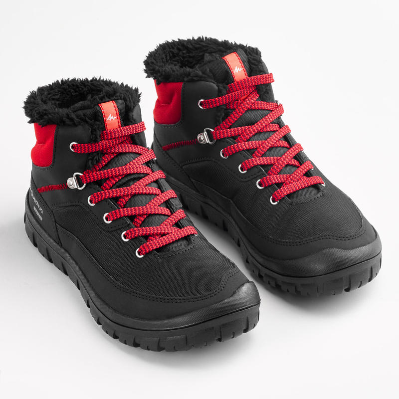Kids' Snow Hiking Warm Shoes SH100 Warm Laces Mid - Black