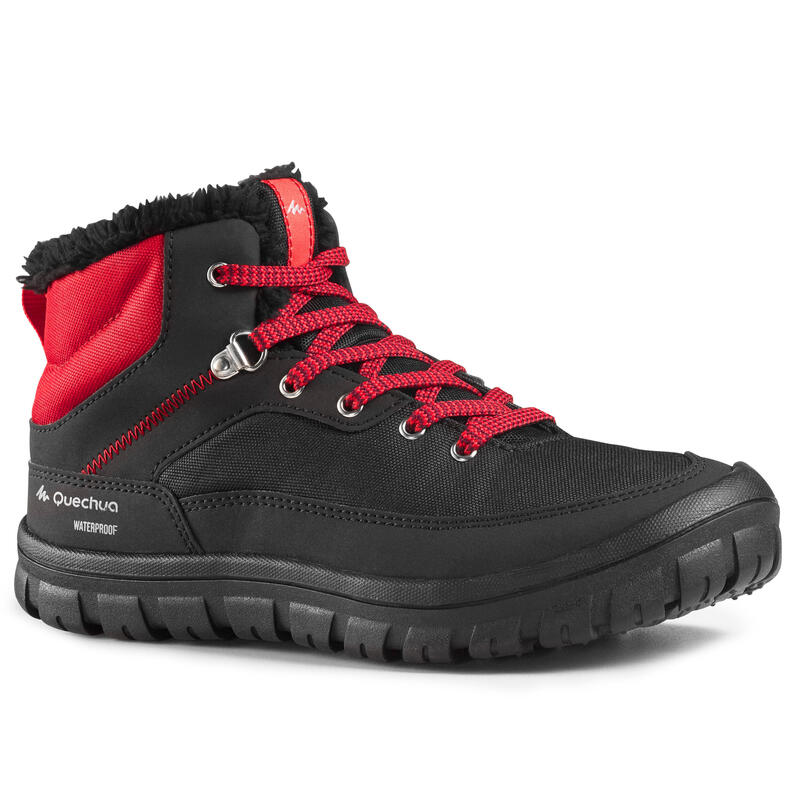 Kids' Snow Hiking Warm Boots SH100 Warm Laces Mid - Black