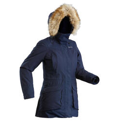 Parka cálida impermeable de senderismo nieve mujer SH500 ultra-warm azul marino