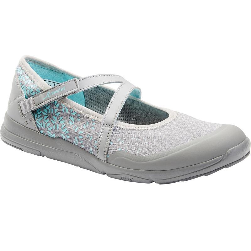 Damesballerina's voor sportief wandelen PW 160 Br'easy grijs/turquoise