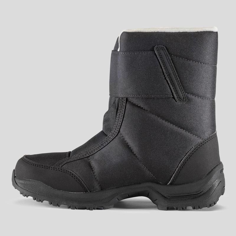 รองเท้าบูตหุ้มข้อเด็กสำหรับเดินป่าหิมะที่กันหนาวและกันน้ำ SH100 X-WARM (สีดำ)