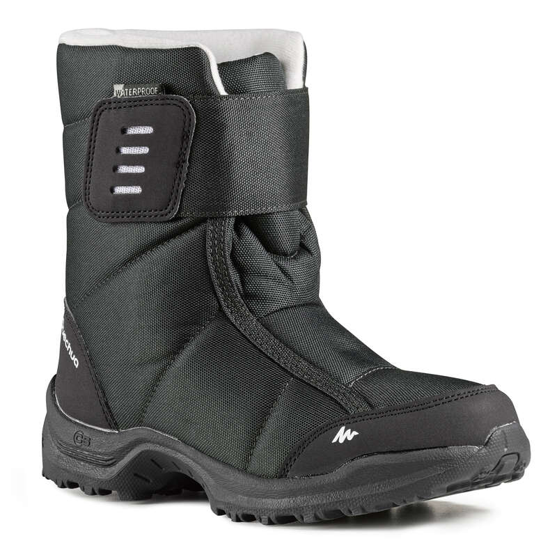 CHILDREN SNOW HIKING WARM SHOES & BOOTS Hiking - SH100 X-Warm Children's Snow Boots - Black QUECHUA - Outdoor Shoes