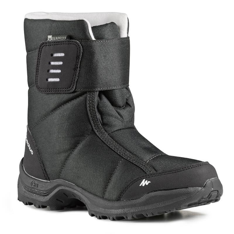 DĚTSKÉ BOTY NA ZIMNÍ TURISTIKU Turistika - SNĚHULE SH 100 X-WARM ČERNÉ QUECHUA - Turistická obuv