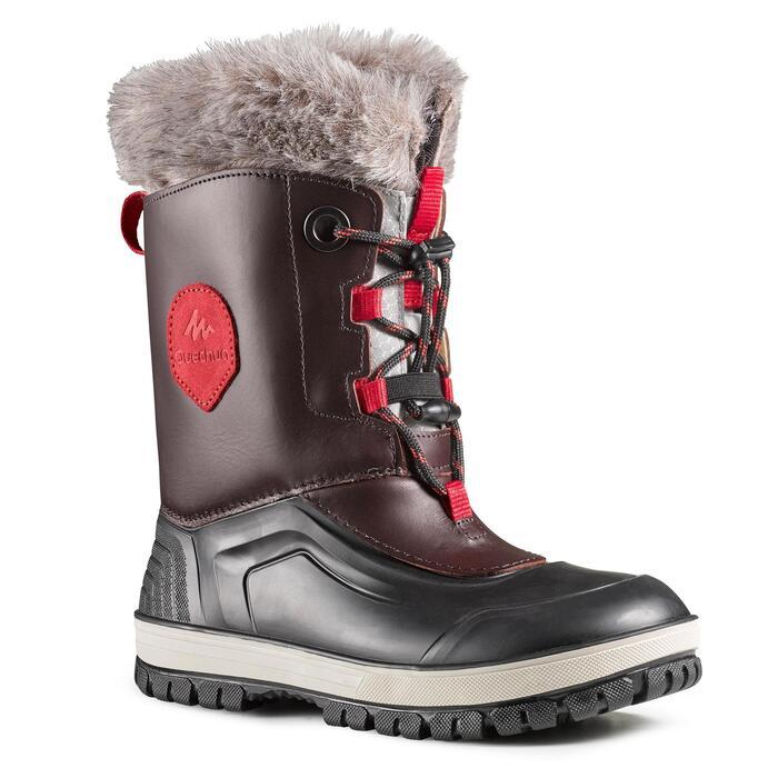 Bottes de randonnée neige enfant SH500 x-warm cuir marron