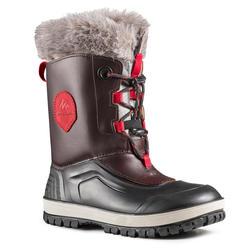 Wandellaarzen voor de sneeuw kinderen SH500 X-Warm leer bruin