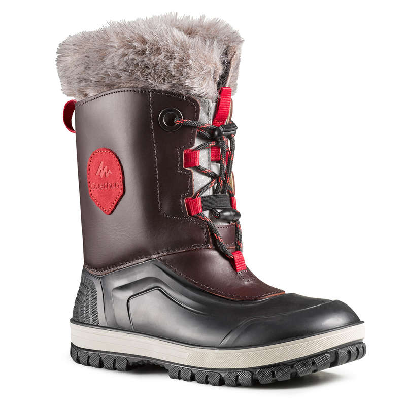 CHILDREN SNOW HIKING WARM SHOES & BOOTS Hiking - BTS LEATHER SH500 XWARM - BRN QUECHUA - Outdoor Shoes