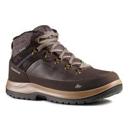 男款超保暖雪地健行中筒鞋SH500-褐紅色