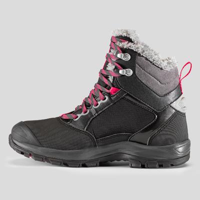 Жіночі черевики SH520 X-Warm для зимового туризму, середньої висоти - Чорні