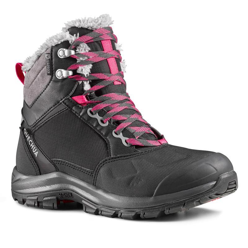 Warme en waterdichte wandelschoenen voor dames SH520 halfhoog zwart
