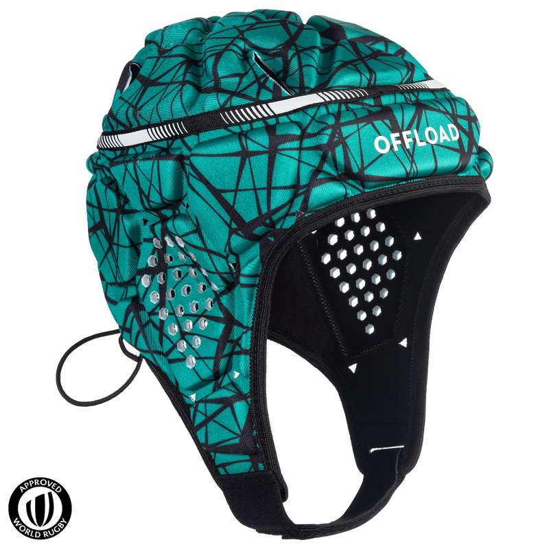 PADS RUGBY MEN Rugby - R500 Scrum Cap - Green/Black OFFLOAD - Rugby