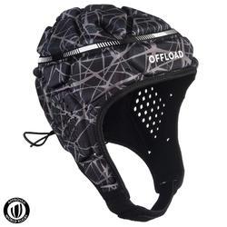 成人款橄欖球爭球頭盔500-黑灰配色