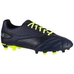 Chaussures de rugby moulée terrains secs Density R100 FG bleue jaune